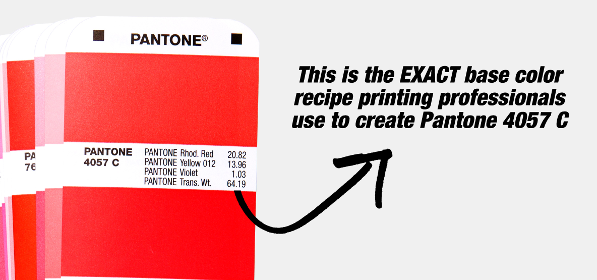 Close up of the Formula Guide with an arrow pointing to the recipe used to create Pantone 4057 C