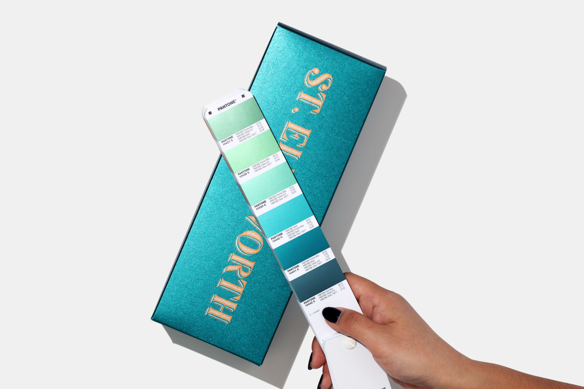 Individual Metallics Guide opened over product packaging