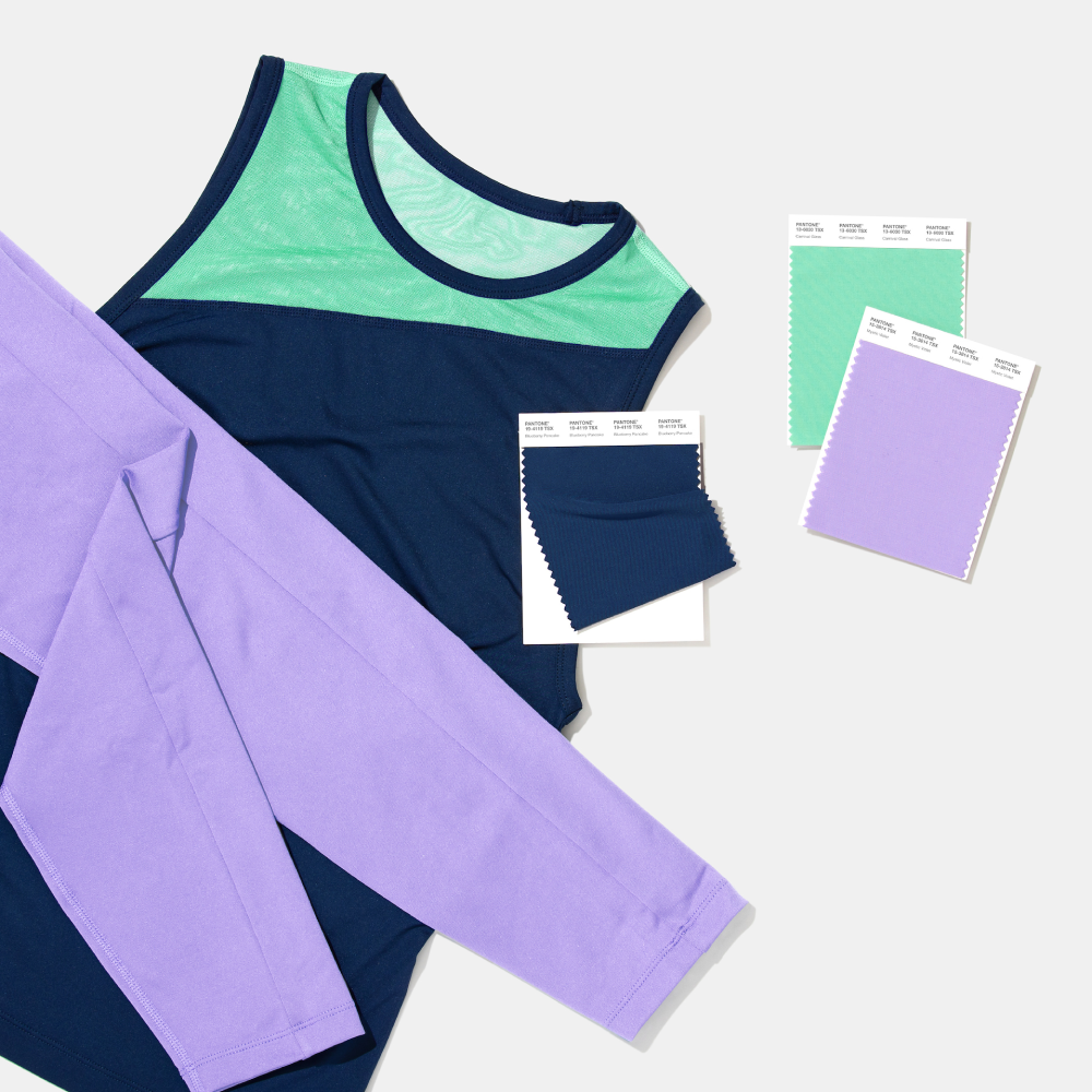 Pantone swatches with top and pants