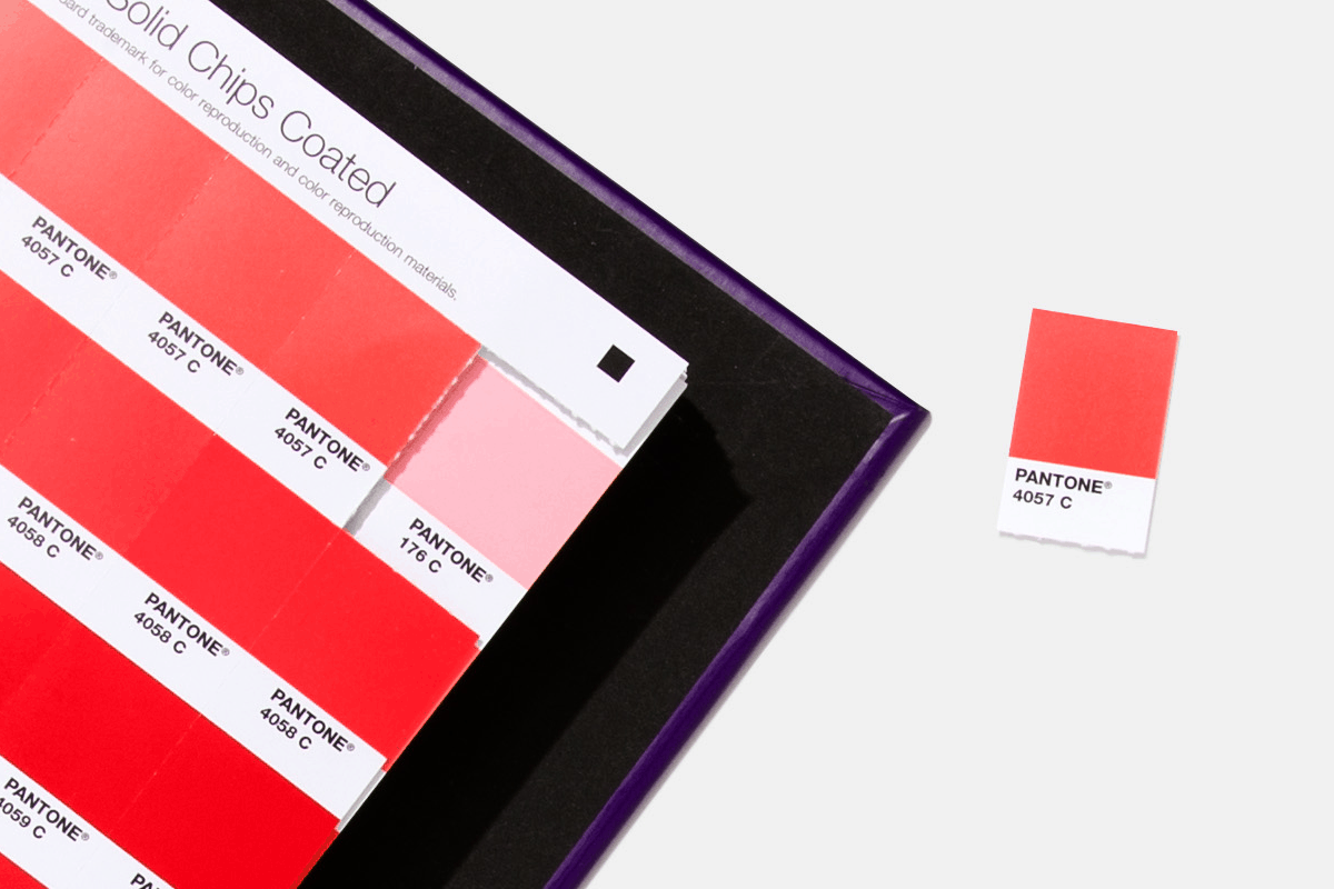 Pantone Solid Chips book with one of the chips removed for use