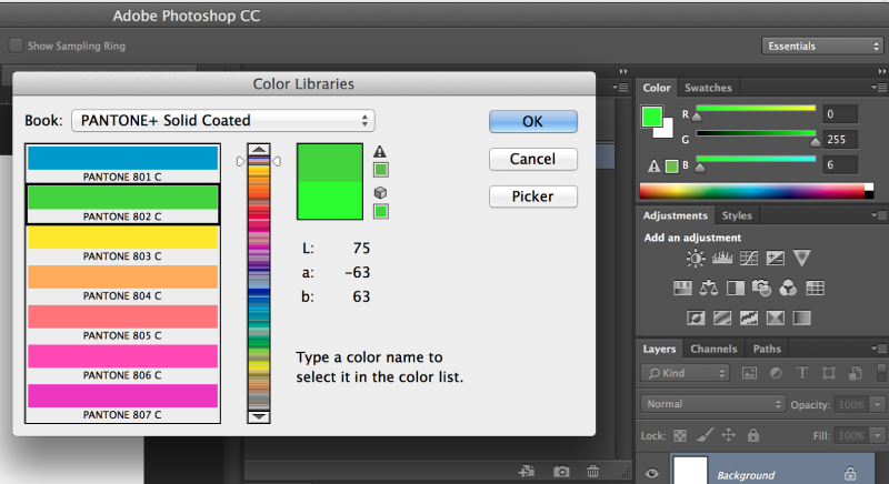 Selecting the Pantone Plus Sold Coated Color Library in Adobe Photoshop