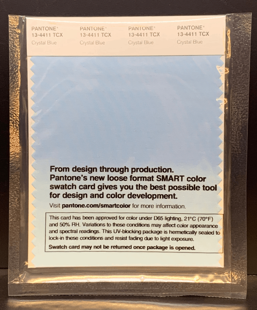 Crystal Blue SMART Cotton Swatch Card in a plastic sheathing