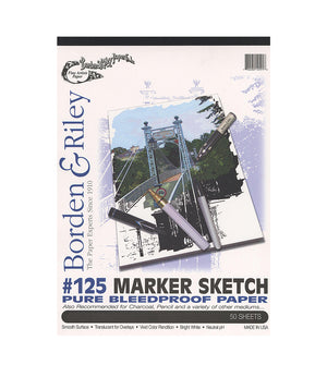 "Borden & Riley #125 Marker Sketch Pure Bleedproof Paper, 9""X12"", 50 Sheets/Pad"