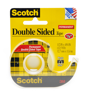 3M Double-Sided Permanent Tape with Dispenser 1/2""