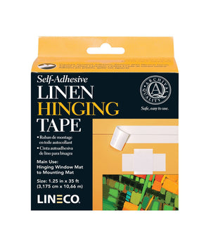 "Lineco Self Adhesive Linen Hinging Tape, 1.25"" x 35 Feet (Black or White)"