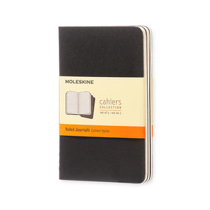 "Pocket Moleskine Cahier Book - Set of 3, Large, Black Cover, 3 1/2"" x 5 1/2"" (Various Styles)"