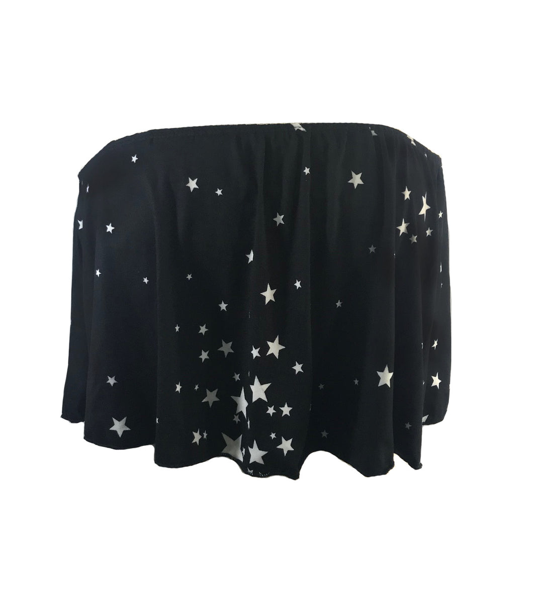 BLACK STARS BANDEAU TOP