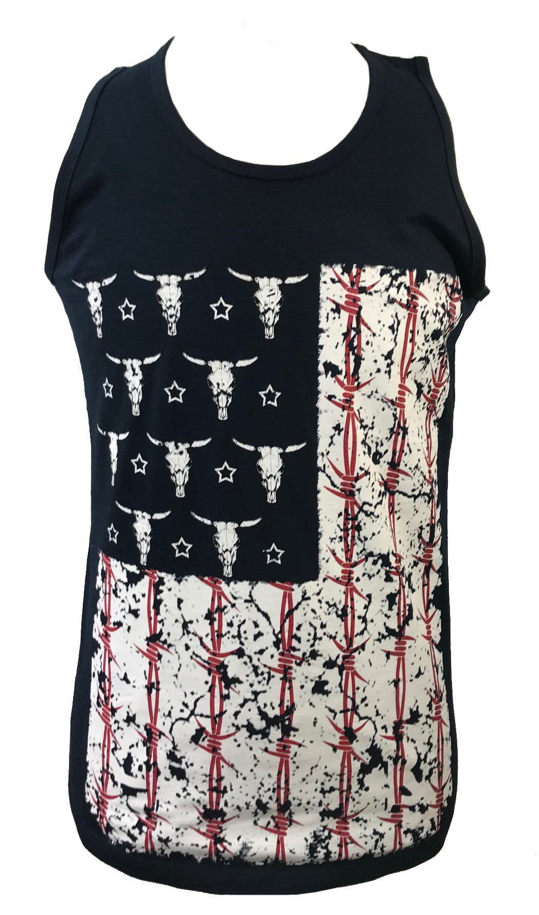 COW SKULL BARB WIRE FLAG MEN'S TANK - Trailsclothing.com