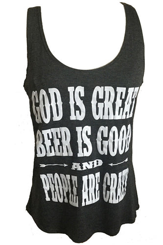GOD IS GREAT BEER IS GOOD TANK TOP - Trailsclothing.com