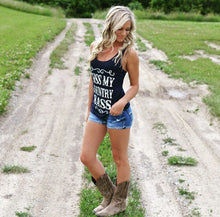 KISS MY COUNTRY SASS NAVY TANK TOP - Trailsclothing.com