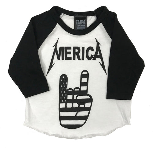 MERICA FLAG HAND BABY AND RAGLAN TEE - Trailsclothing.com