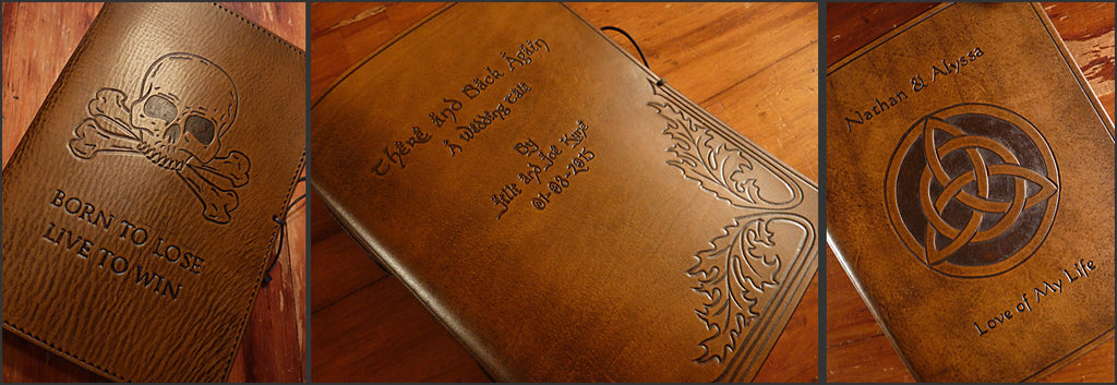 LEATHER JOURNALS WITH DESIGNS AND TEXT - EARTHWORKS JOURNALS