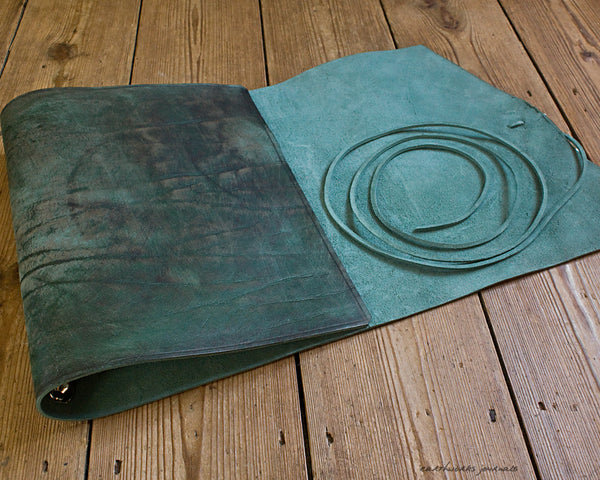 A4 distressed green leather ring binder 5 - wraparound - earthworks journals - A4WB003