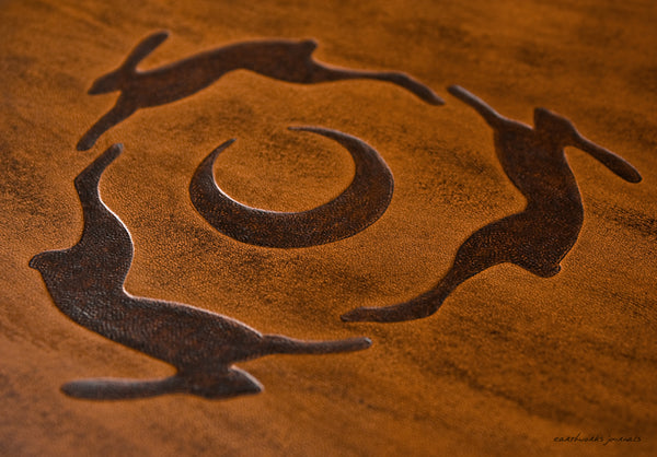A4 brown leather 4 ring binder - hares and moon design detail - earthworks journals A4B002