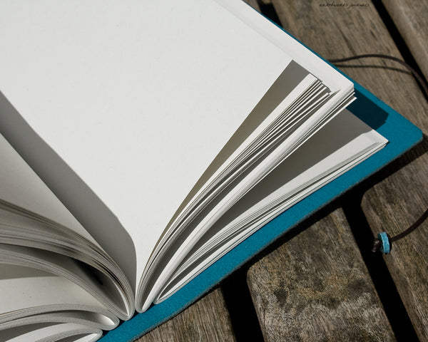 A5 sky blue leather journal - open - earthworks journals