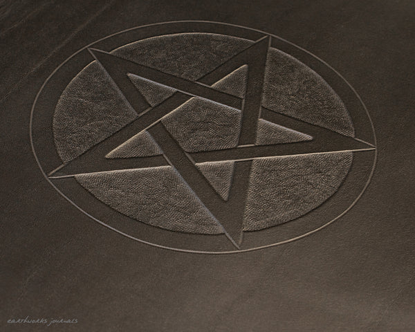 A4 black leather journal - book of shadows - pentagram design detail - earthworks journals A4C010