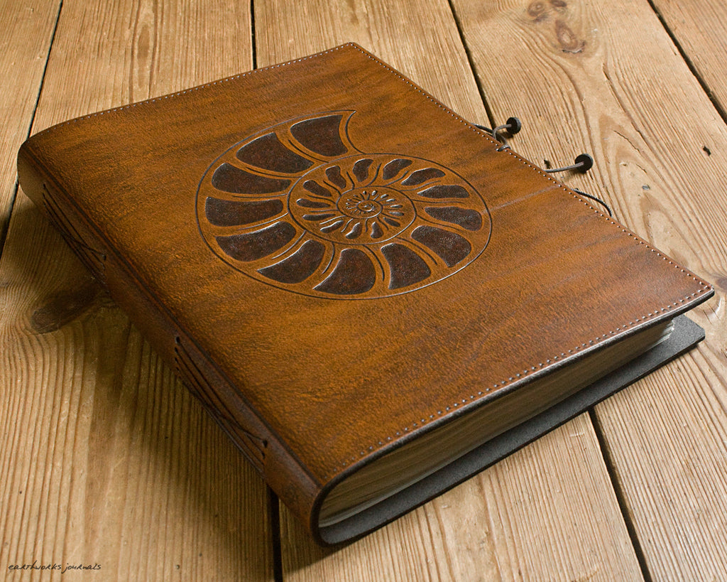 A4 brown leather journal - spiral ammonite design - earthworks journals A4C012
