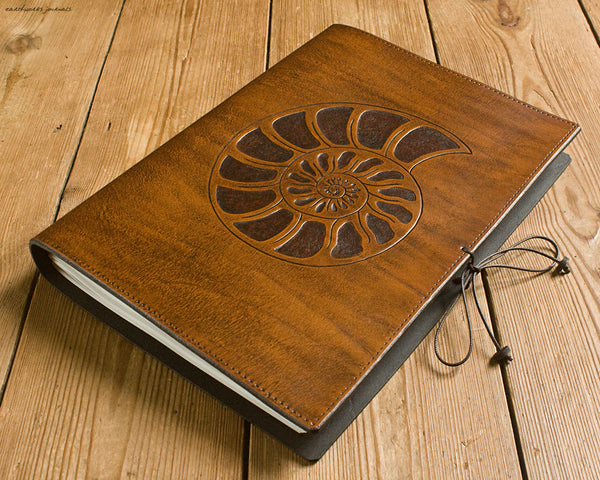 A4 brown leather journal - spiral ammonite design 2 - earthworks journals A4C012