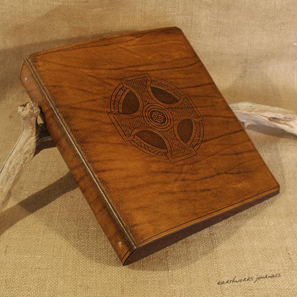 A4 brown leather 4 ring binder - celtic cross design 2 - earthworks journals A4B007