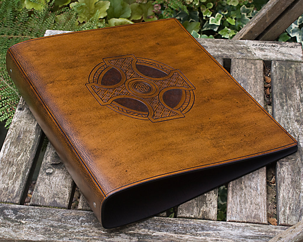 A4 brown leather 4 ring binder - celtic cross design - earthworks journals A4B007