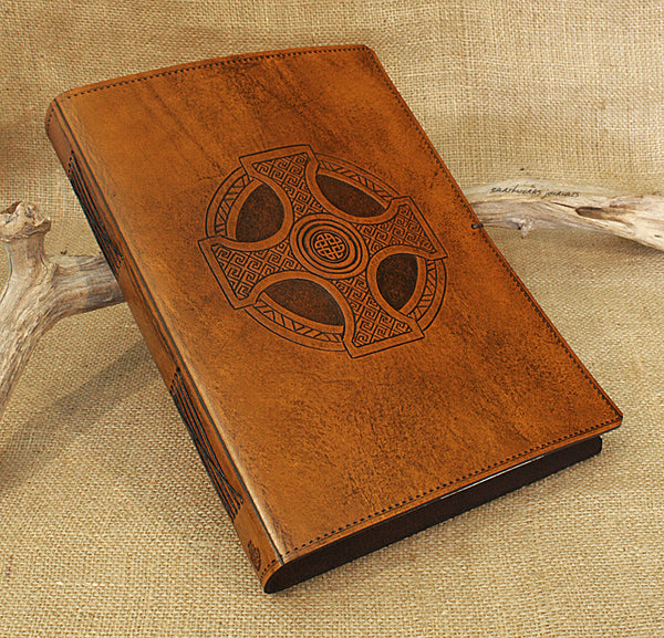 A4 brown leather journal - celtic cross design - earthworks journals A4C013