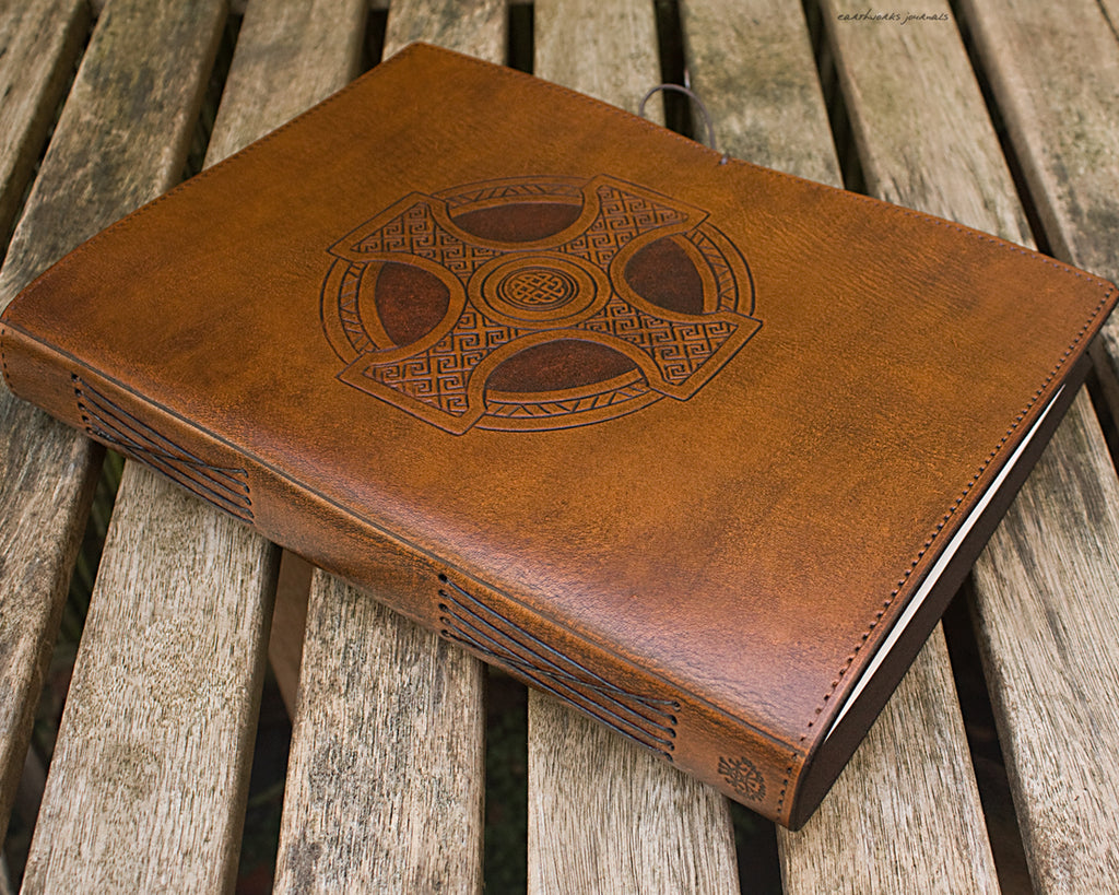 A4 brown leather journal - celtic cross design 2 - earthworks journals A4C013