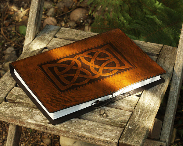 A4 brown leather journal - celtic knot design - earthworks journals A4C009