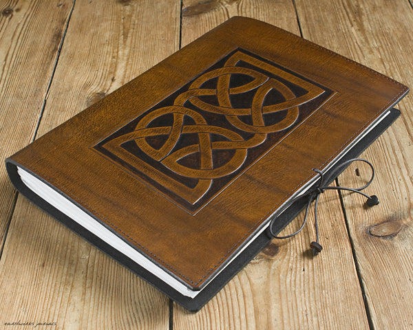 A4 brown leather journal - celtic knot design 3 - earthworks journals A4C009