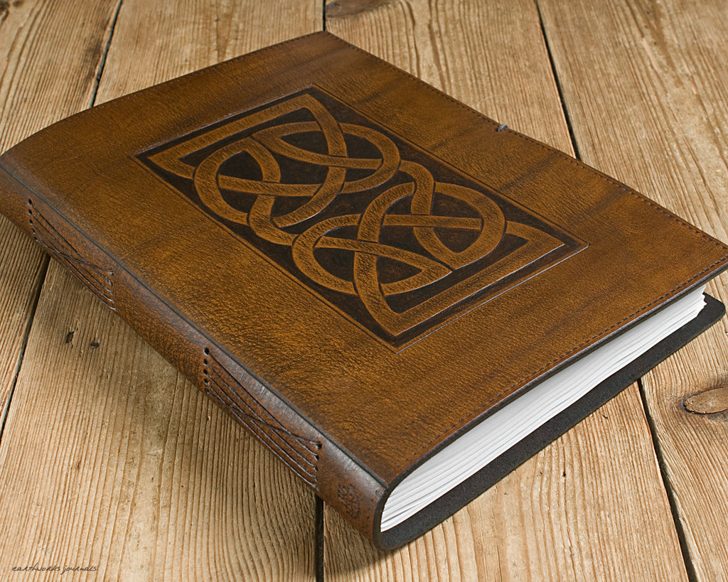 A4 brown leather journal - celtic knot design 2 - earthworks journals A4C009