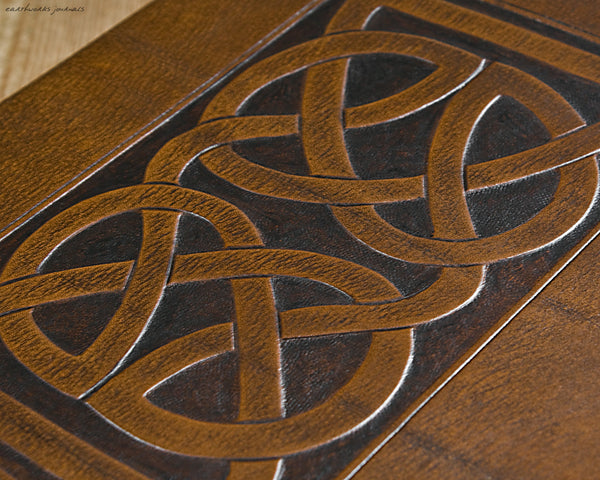 A4 brown leather journal - celtic knot design detail - earthworks journals A4C009