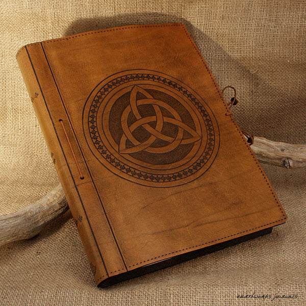 A4 brown leather journal - book of shadows - celtic triquetra design 3 - earthworks journals A4C004