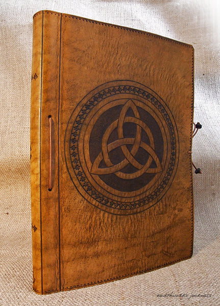 A4 brown leather journal - book of shadows - celtic triquetra design 4 - earthworks journals A4C004