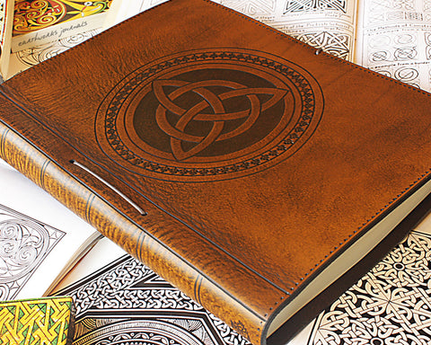 A4 brown leather journal - book of shadows - celtic triquetra design - earthworks journals A4C004