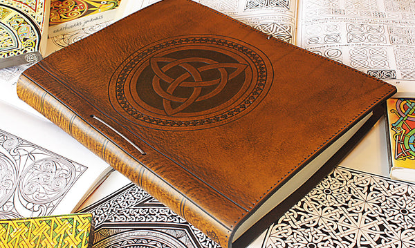 A4 brown leather journal - book of shadows - celtic triquetra design 2 - earthworks journals A4C004