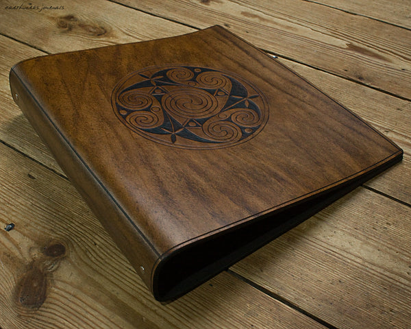A4 brown leather 4 ring binder - Celtic Triple Spiral Triskelion 2 - earthworks journals A4B018