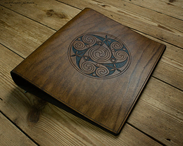 A4 brown leather 4 ring binder - Celtic Triple Spiral Triskelion - earthworks journals A4B018