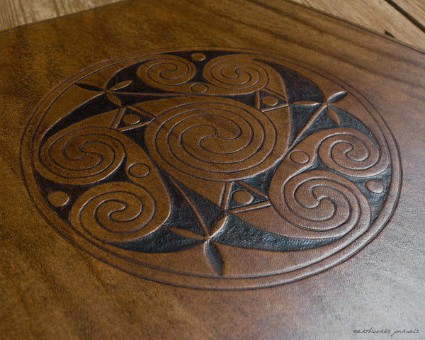 A4 brown leather 4 ring binder - Celtic Triple Spiral Triskelion detail - earthworks journals A4B018