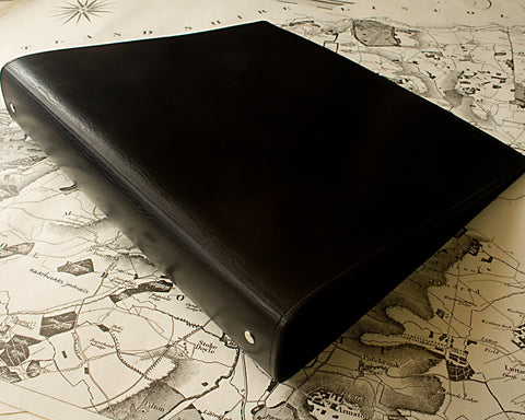 A4 black leather 4 ring binder - plain classic - earthworks journals A4B001