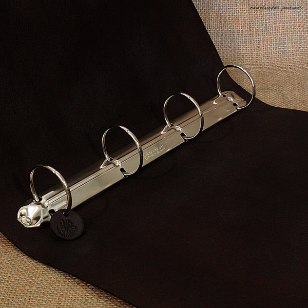 A4 black leather 4 ring binder - plain classic open - earthworks journals A4B001