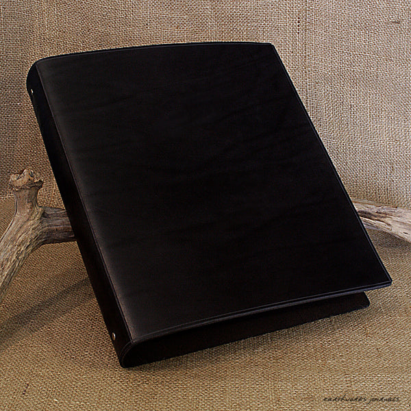 A4 black leather 4 ring binder - plain classic 2 - earthworks journals A4B001