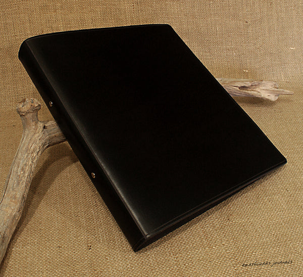 A4 black leather 2 ring binder - plain classic - earthworks journals A4B004