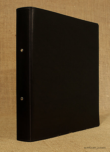 A4 black leather 2 ring binder - plain classic 2 - earthworks journals A4B004