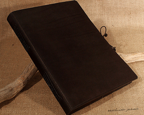 A4 black leather journal - plain classic - earthworks journals A4PC002