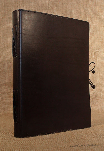 A4 black leather journal - plain classic 2 - earthworks journals A4PC002