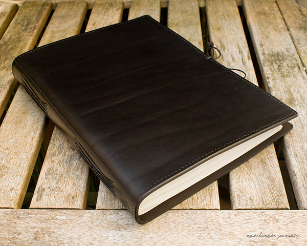 A4 black leather journal - plain classic 3 - earthworks journals A4PC002