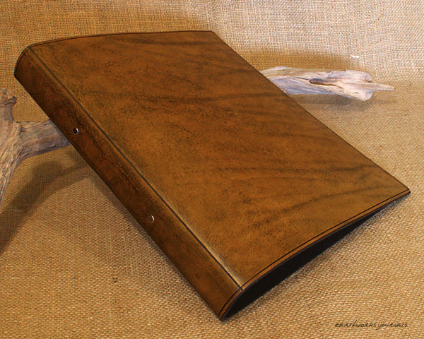 A4 brown leather 2 ring binder - plain classic - earthworks journals A4B008