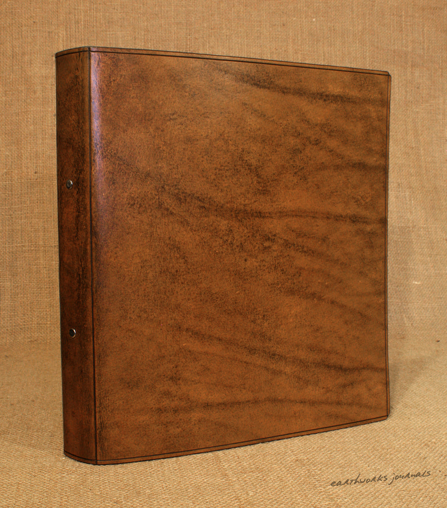 A4 Brown Leather 2 Ring Binder, Plain Classic Presentation