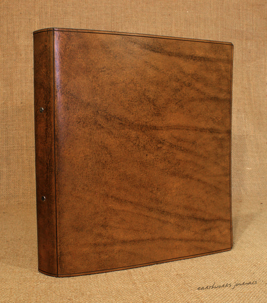 A4 brown leather 2 ring binder - plain classic 2 - earthworks journals A4B008