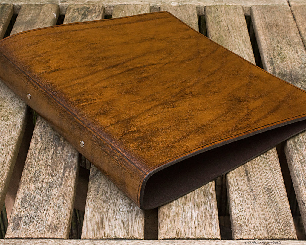 A4 brown leather 2 ring binder - plain classic 3 - earthworks journals A4B008