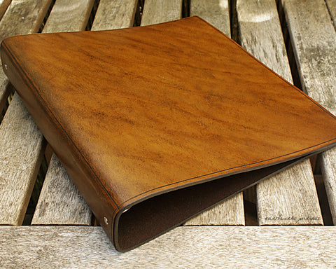 A4 brown leather 4 ring binder - plain classic - earthworks journals A4B002